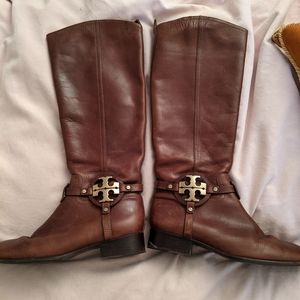 Tory Burch brown leather boots. 8.5
